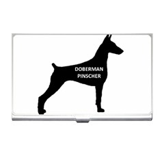 Doberman Pinscher Name Silhouette Black Business Card Holders