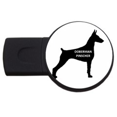 Doberman Pinscher Name Silhouette Black USB Flash Drive Round (1 GB)