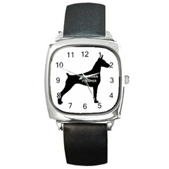 Doberman Pinscher Name Silhouette Black Square Metal Watch