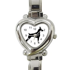 Doberman Pinscher Name Silhouette Black Heart Italian Charm Watch