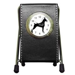 Doberman Pinscher Name Silhouette Black Pen Holder Desk Clocks