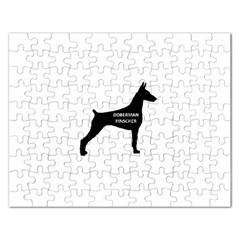 Doberman Pinscher Name Silhouette Black Rectangular Jigsaw Puzzl