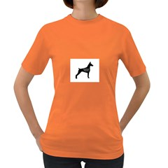 Doberman Pinscher Name Silhouette Black Women s Dark T-Shirt