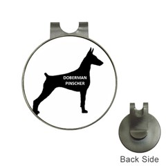 Doberman Pinscher Name Silhouette Black Hat Clips with Golf Markers