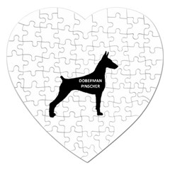 Doberman Pinscher Name Silhouette Black Jigsaw Puzzle (Heart)