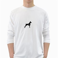 Doberman Pinscher Name Silhouette Black White Long Sleeve T-Shirts