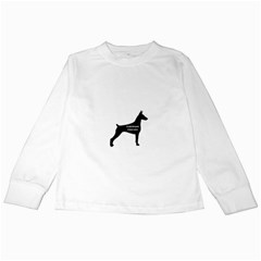 Doberman Pinscher Name Silhouette Black Kids Long Sleeve T-Shirts