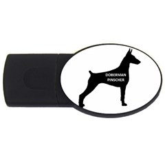Doberman Pinscher Name Silhouette Black USB Flash Drive Oval (4 GB)