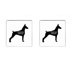 Doberman Pinscher Name Silhouette Black Cufflinks (Square)