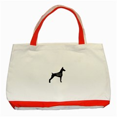 Doberman Pinscher Name Silhouette Black Classic Tote Bag (Red)