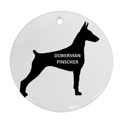 Doberman Pinscher Name Silhouette Black Round Ornament (Two Sides)