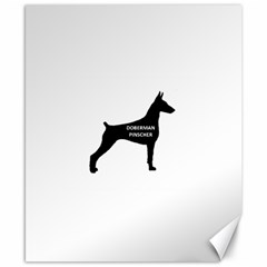 Doberman Pinscher Name Silhouette Black Canvas 8  x 10