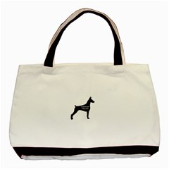 Doberman Pinscher Name Silhouette Black Basic Tote Bag (Two Sides)