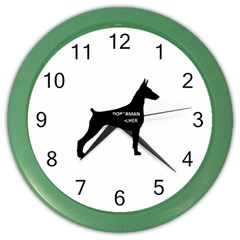Doberman Pinscher Name Silhouette Black Color Wall Clocks