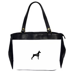 Doberman Pinscher Name Silhouette Black Office Handbags (2 Sides)