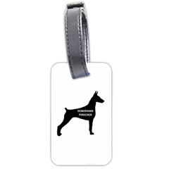 Doberman Pinscher Name Silhouette Black Luggage Tags (One Side)