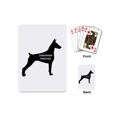 Doberman Pinscher Name Silhouette Black Playing Cards (Mini)