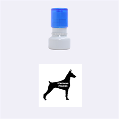Doberman Pinscher Name Silhouette Black Rubber Round Stamps (Small)