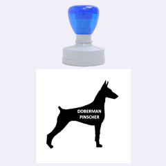 Doberman Pinscher Name Silhouette Black Rubber Round Stamps (Large)