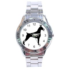 Doberman Pinscher Name Silhouette Black Stainless Steel Analogue Watch