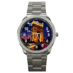 Paris Cityscapes Lights Multicolor France Sport Metal Watch