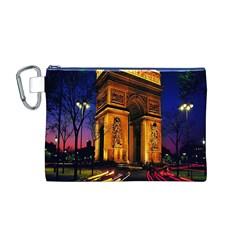 Paris Cityscapes Lights Multicolor France Canvas Cosmetic Bag (M)