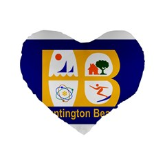 Flag Of Huntington Beach, California Standard 16  Premium Heart Shape Cushions