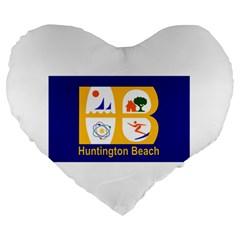 Flag Of Huntington Beach, California Large 19  Premium Heart Shape Cushions