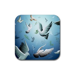 Animated Nature Wallpaper Animated Bird Rubber Square Coaster (4 Pack)