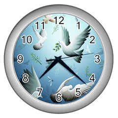 Animated Nature Wallpaper Animated Bird Wall Clocks (silver)