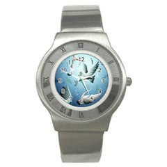 Animated Nature Wallpaper Animated Bird Stainless Steel Watch