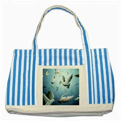 Animated Nature Wallpaper Animated Bird Striped Blue Tote Bag