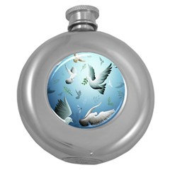 Animated Nature Wallpaper Animated Bird Round Hip Flask (5 Oz)