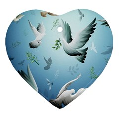Animated Nature Wallpaper Animated Bird Heart Ornament (2 Sides)