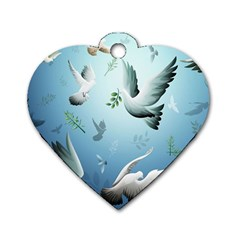 Animated Nature Wallpaper Animated Bird Dog Tag Heart (two Sides)