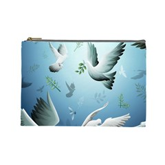 Animated Nature Wallpaper Animated Bird Cosmetic Bag (large)