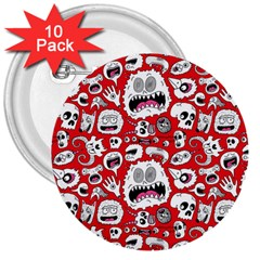 Another Monster Pattern 3  Buttons (10 Pack)