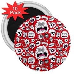 Another Monster Pattern 3  Magnets (10 Pack)