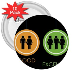 Bad Good Excellen 3  Buttons (10 Pack)