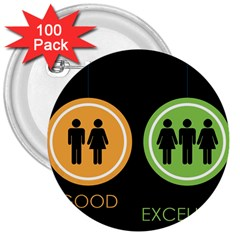 Bad Good Excellen 3  Buttons (100 Pack)