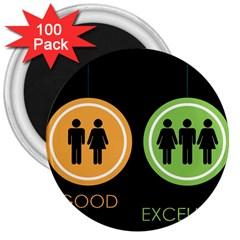 Bad Good Excellen 3  Magnets (100 Pack)