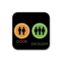 Bad Good Excellen Rubber Square Coaster (4 Pack)