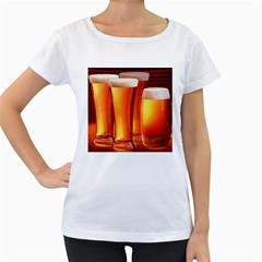 Beer Wallpaper Wide Women s Loose Fit T Shirt (white)