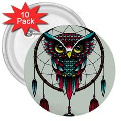 Bird 3  Buttons (10 Pack)