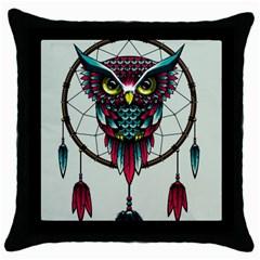 Bird Throw Pillow Case (black)