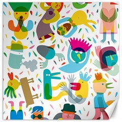 Colorful Cartoon Funny People Canvas 12  X 12