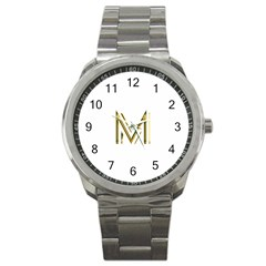 M Monogram Initial Letter M Golden Chic Stylish Typography Gold Sport Metal Watch