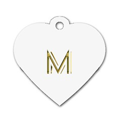 M Monogram Initial Letter M Golden Chic Stylish Typography Gold Dog Tag Heart (Two Sides)