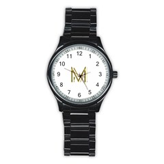 M Monogram Initial Letter M Golden Chic Stylish Typography Gold Stainless Steel Round Watch