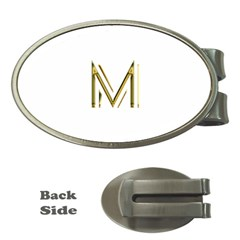 M Monogram Initial Letter M Golden Chic Stylish Typography Gold Money Clips (oval)